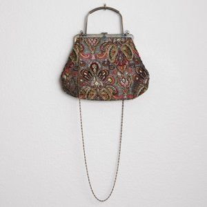 Vintage Beaded Jacquard Large Evening Bag Brass